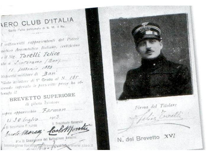 Felice Torelli - Brevetto Superiore di pilota Aviatore