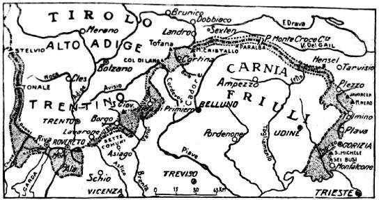 Territorio occupato, contrassegnato in grigio, dalle truppe italiane durante la prima fase del conflitto