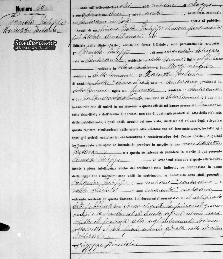 Atto di matrimonio del 1886 tra Giuseppe Perniola e Gaetana Natuzzi
