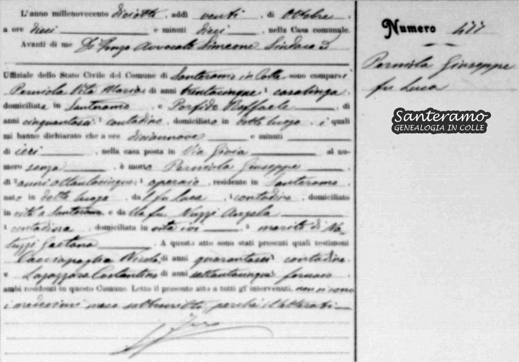 Atto di morte di Giuseppe Perniola nel 1918