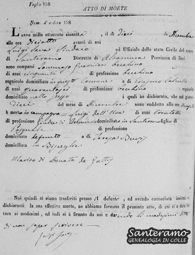 Atto di morte di Luigi Dell'Uva del 1860