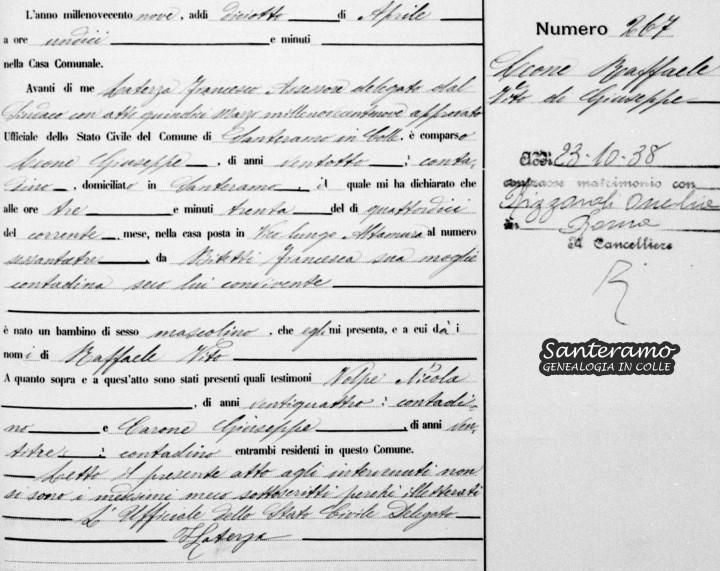 Atto di nascita di Raffaele Leone nel 1909