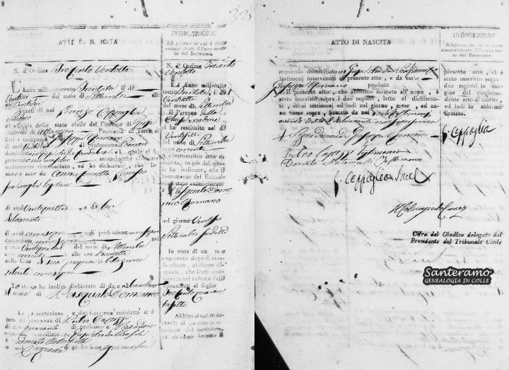 Atto di nascita di Pasquale Domenico Romano del 24 settembre 1833
