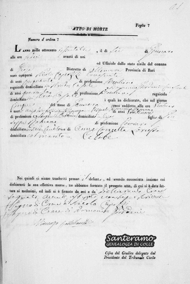 Atto di Morte del Sergente Borbonico Pasquale Domenico Romano