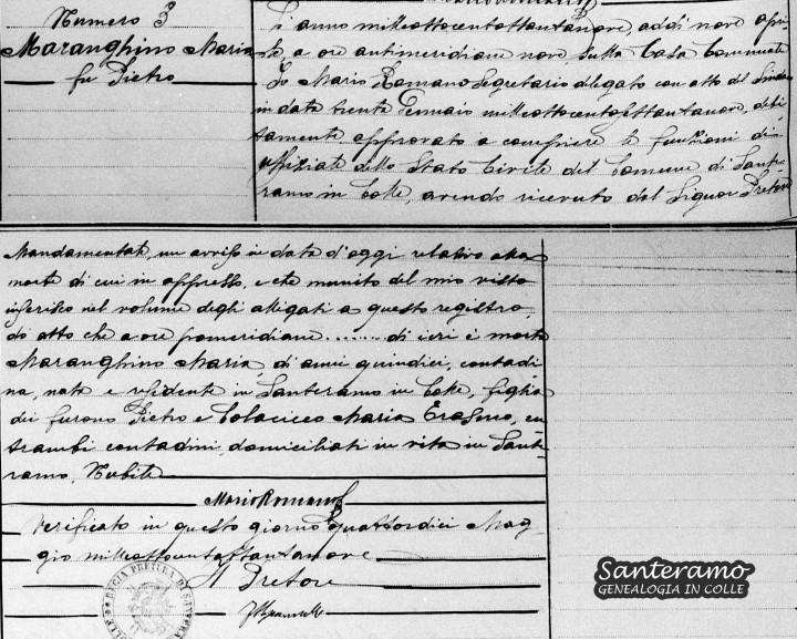 Atto di Morte di Maria Maranghino del 1889