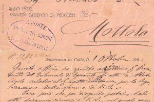 La cartolina del sindaco Giampetruzzi al sindaco di Mottola