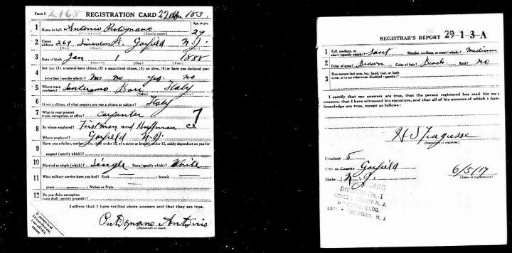 Scheda di registrazione di Antonio Putignano alle liste di leva della Prima Guerra Mondiale