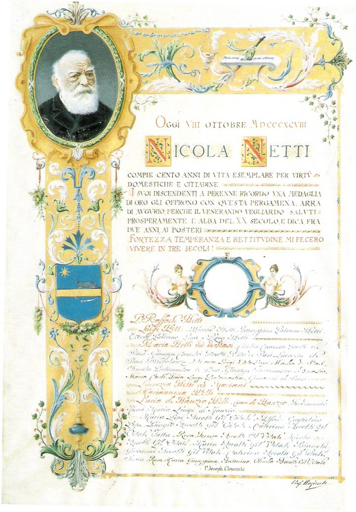 Pergamena augurale per i 100 anni di Nicola Netti