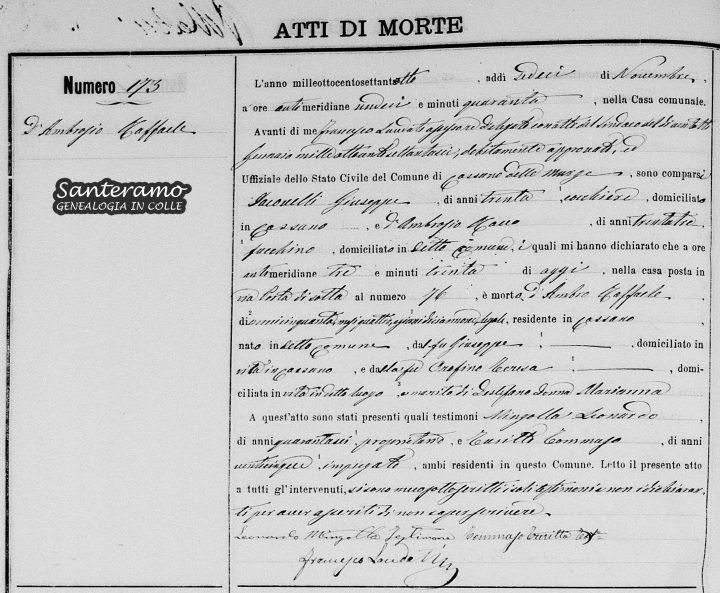 Atto di morte di Raffaele D'Ambrosio